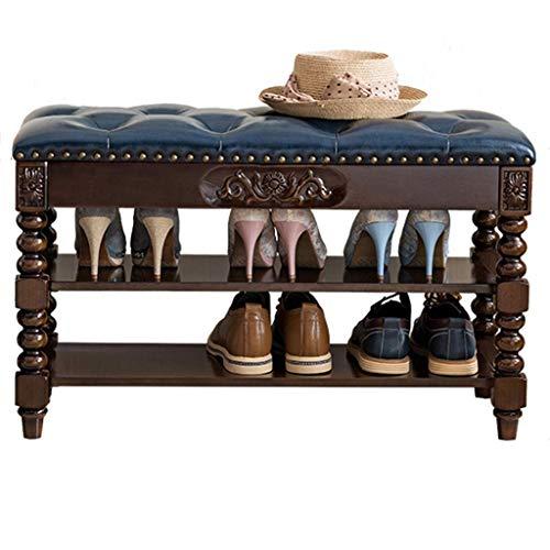 XBCDX Banco de Zapatos de Almacenamiento otomano Retro 100% Madera de Caucho, con Asiento tapizado de Cuero, Zapatero de 2 Niveles Estante de Almacenamiento Grande para Pasillo, Entrada, Color nog