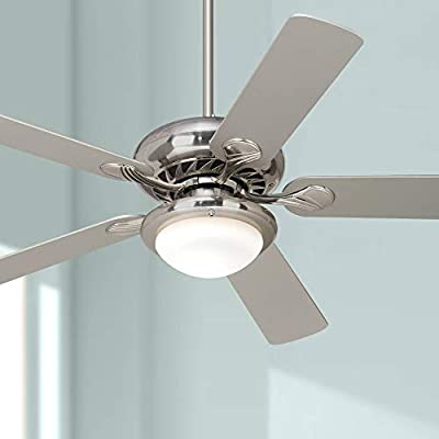 """52"""" Tempra Modern Ceiling Fan with Light LED Dimmable Remote Control Brushed Nickel Silver Blades Opal Glass for Living Room Kitchen Bedroom Family Dining - Casa Vieja"""