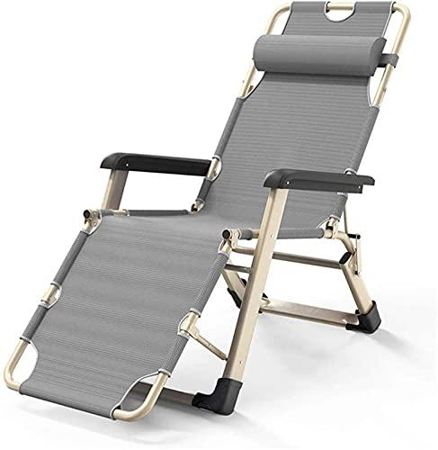 Tumbonas y sillones reclinables para jardín, gris, plegable, ajustable, tumbona, tumbona, reclinable, para la playa, piscina, patio al aire libre, jardín, camping c2020 (Color: Grey, Size: Sin cojín)