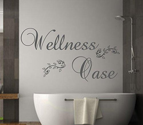 Wandschnörkel ®Wandtattoo Badezimmer Wellness OASE Wandaufkleber (120 cm, Grau)