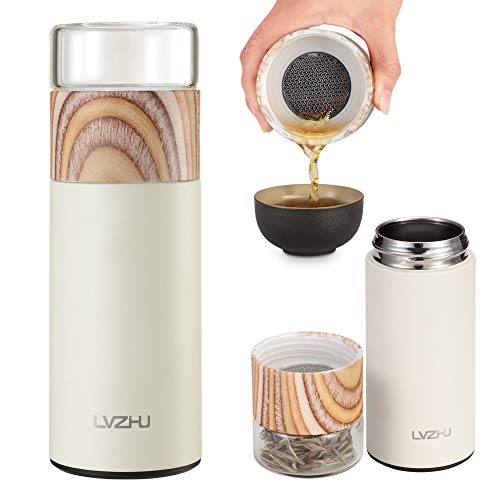 LVZHU Tea Tumbler Filter Water-Tealeaves Separated Travel Tea Mug Tea Infuser Portable Tea Thermos Leaf Strainer Hot Water Cup Vacuum Bottle (Type-A)