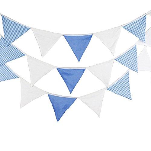 G2PLUS 5.5 M Schöne Wimpelgirlande Se Bunting Wimpelkette Farbenfroh Wimpeln mit 24 Anhänger Fahnen für Party Draußen (Blau)