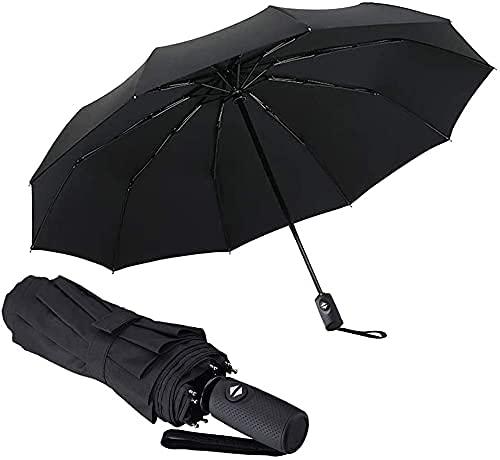 Pkfinrd Apertura automática y cierre de lluvia Sun doble propósito Business plegable paraguas a prueba de viento viaje con mango antideslizante Super