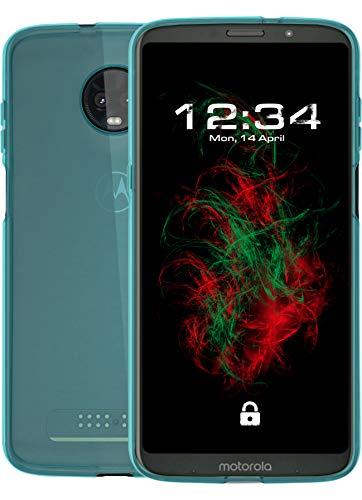 Baluum TPU Transparent Türkise Hülle für Motorola Moto Z3 Play Schutzhülle Durchsichtig Case Cover Klare Handyhülle Backcover Silikonhülle (TPU-T, türkis)