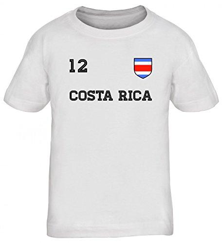 Fußball WM Fanfest Gruppen Kinder T-Shirt Rundhals Mädchen Jungen Trikot Costa Rica, Größe: 122/128,weiß