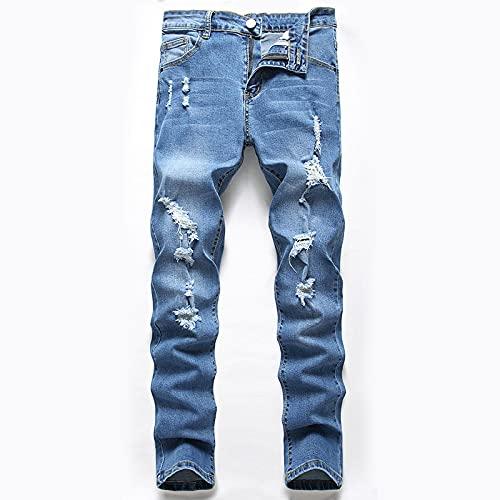 ShSnnwrl Jeans Jeans High Street Elasticity Stretch Blue Pantalones Trendy Hole Pantalones de Mezclilla Rectos 31 Blue