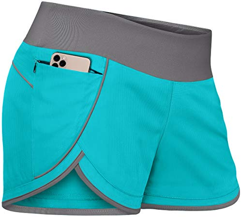 Fulbelle Yoga Shorts with Pockets for Women, Teen Girls Workout Athletic Running Gym Short Color Block Plus Size Comfort Sports Training Youth Stretchy Lounge Wear Teal X-Large