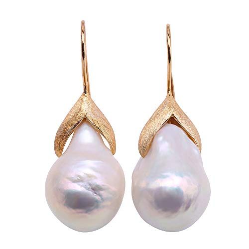 JYX Pearl Earrings Sterling Silver Hook 14.5×25mm White Baroque Cultured Freshwater Pearl Dangle Drop Earrings Baroque Pearl Drop Earrings