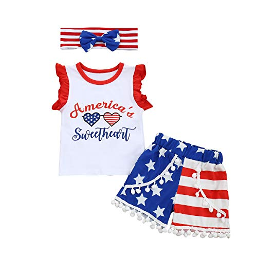 NCONCO 3Set Newborn Baby Boy Independence Day Clothes Suit Sleeveless Shirt Shorts Headband 90
