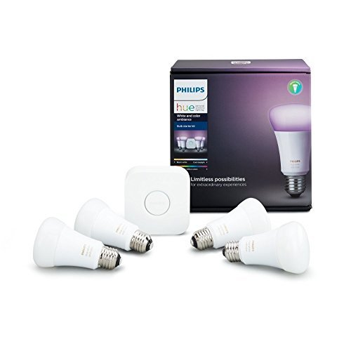 Philips Hue White and Color Ambiance A19 60W Equivalent LED Smart Bulb Starter Kit, 4 A19 Bulbs and 1 Hub Compatible with Amazon Alexa Apple HomeKit and Google Assistant, (All US Residents)