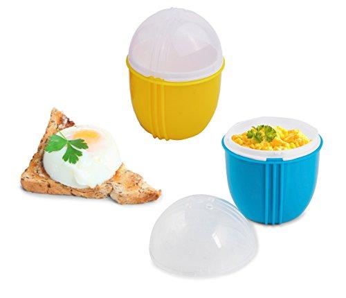 ZAP Chef micro-ondes Egg Cooker Lot de 2, Sain œufs Brouillés, 1minute Pocheuse à œufs, Cool Touch Omlette Maker, 100% alimentaire sans BPA, la couleur peut varier