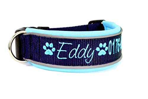 Hundehalsband Gurtband mit Neopren mit WUNSCHTEXT, Halsband gefüttert, große Farbauswahl, Telefonnummer