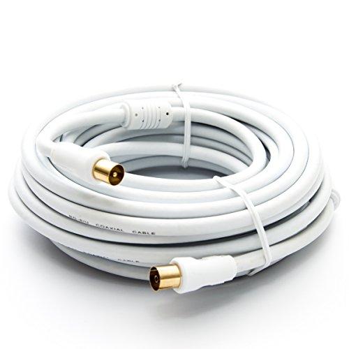PremiumX 20m Basic-LINE TV Antennenkabel IEC-Anschlusskabel Koaxial-Kabel mit Mantelstromfilter HDTV 4K - Weiß