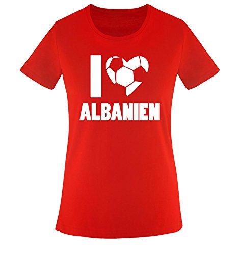 I Love ALBANIEN - Damen T-Shirt - Rot/Weiss Gr. XL