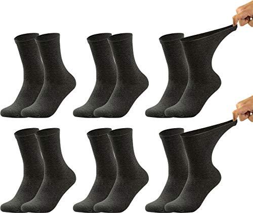 Vitasox 31119 Damen Ges&heitssocken extra weiter B& ohne Gummi, Venenfre&liche Socken mit breitem Schaft verhindern Einschneiden und Drücken, 6 Paar Anthrazit 43/46