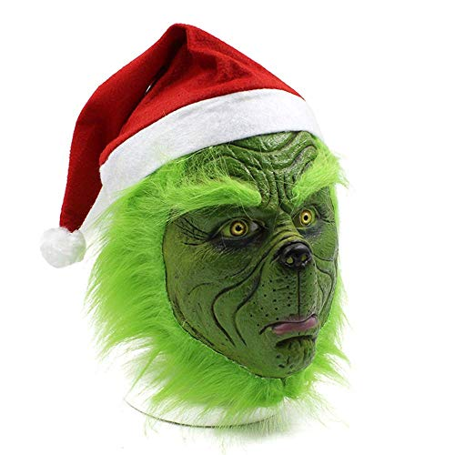 Grinch Cosplay Mask ,Christmas Costume Props, Grinch Costume Accessories (A)