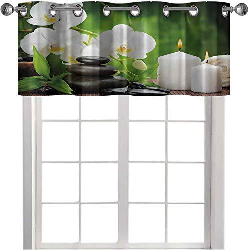 Mantovana oscurante, con pietre zen, con orchidee e candele bruciate, in una romantica armonia, 106,7 x 45,7 cm, mantovana oscurante, per finestra della cucina, colore: verde antracite
