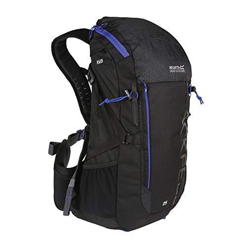 Regatta Blackfell III Reflective Hardwearing Travel Backpack - Black/Surfspray, 25 Litre