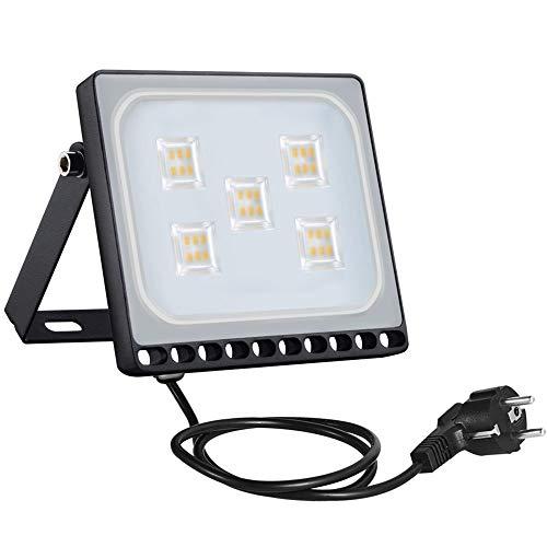 Bellanny 30W Impermeable Floodlight para Exterior, IP65 Foco Proyector LED,3000K,Bombillas Reflector LED con enchufe para patios, villas, parques, blanco cálido [Clase de eficiencia energética A++]