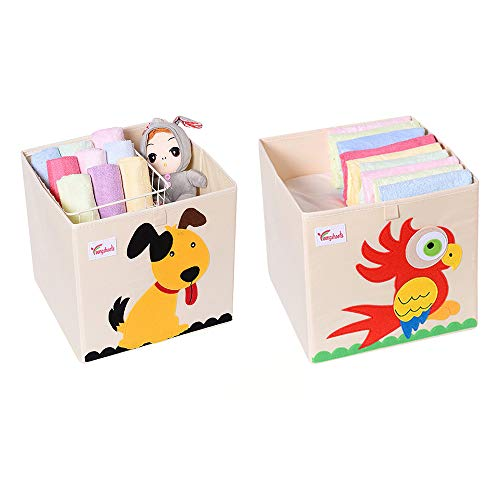 SITAKE 2Pcs Foldable Animal Storage Toy Box/Bin/Cube - Organizer Container Cube Storage Box for Kids & Toddlers - Collapsible Toy Storage Cubes Organizer for Kids (13 x 13 x 13 Inch, Dog & Parrot)