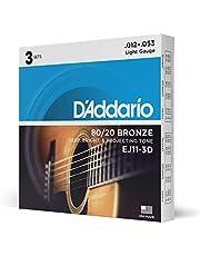D'Addario ダダリオ アコースティックギター弦 80/20ブロンズ Light .012-.053 EJ11-3D 3set入りパック 【国内正規品】