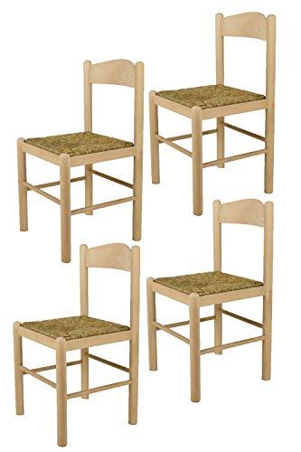 Tommychairs - Set 4 sillas Pisa 50 para cocina y comedor, estructura en madera de haya lijada, no tratada, 100% natural y asiento en paja