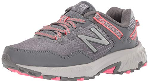 New Balance Women's 410 V6 Trail Running Shoe, Dark Grey/Pink, 8 M US