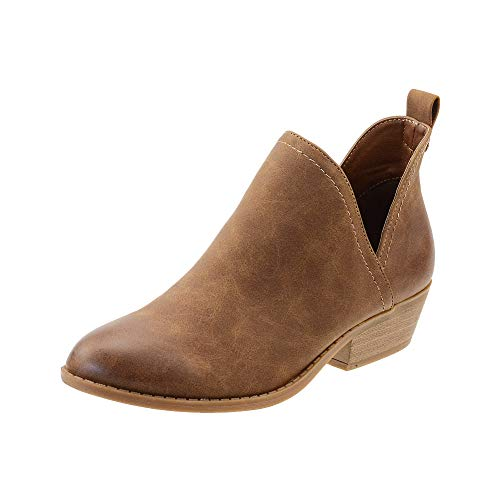 FIBURE Womens Low Heel Ankle Boots V Cutout Almond Toe Stacked Chunky Heel Booties Brown US 8