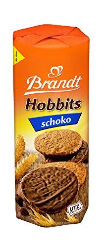 Brandt Hobbits Schoko, 265 g Packung - kerniger Vollkornkeks mit Haferflocken und Schokolade- knackiges Gebäck für die ganze Familie - in praktischer Keksrolle