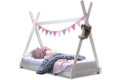 Sleep Design Kids White Wooden Solid Pine Tipi Tent Canopy Style Bed Frame Single Size 3ft