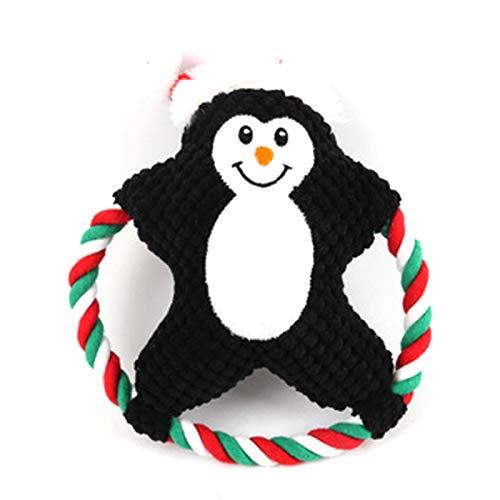 BANGBIU Plüschtier aus Baumwollseil, gewebtes Weihnachtsmann-Pinguin, Kekse, Volksstil, Gesangs-Spielzeug, Molar, Kauspielzeug für kleine und mittelgroße Hunde Schwarz
