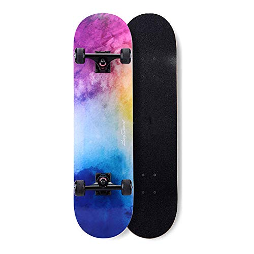 LONGXJA Anfänger Skateboard, komplettes professionelles PRO Double Tilt Skateboard, Junge Mädchen Teenager Erwachsener 31 Zoll Skateboard-Sternenklarer Himmel_31 Zoll