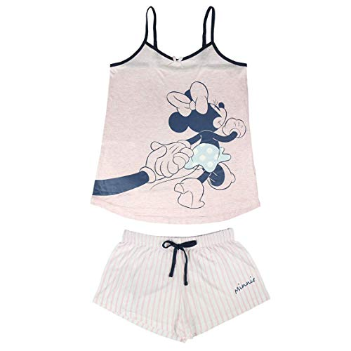 Cerdá Pijama de Minnie Mouse-Camiseta + Pantalon de Algodón Juego, Rosa, XL para Mujer