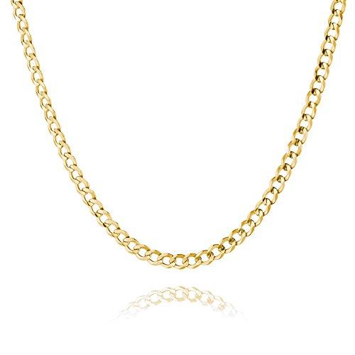 STERLL Herren Hals-Kette Silber Gold Beschichtet 55cm Ohne Anhänger Geschenkverpackung Geschenke für Männer