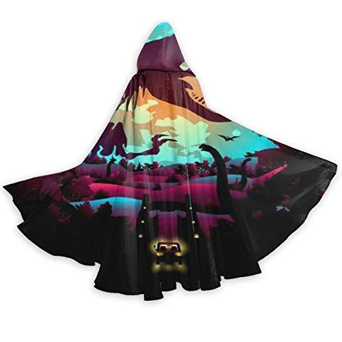 QBahoe Adult Cape Cloak Colorful Dinosaurs World Unisex Full Length Hooded Robe Cloak Long Cape Cosplay Costume