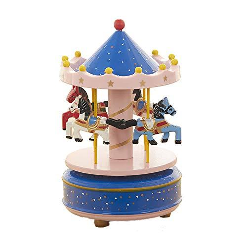 MINGZE giostra di Legno Carillon, Scatola Musicale Music Box Vintage Exquisite Crafts San Valentino Compleanno Regali di Natale Decorazioni per la casa, Multicolore (DOT-Blue+Pink)