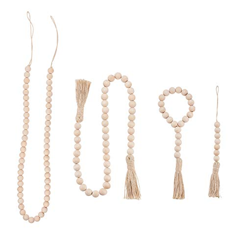 PandaHall 4 pcs Wood Beads Garland with Jute Tassels, 11/11.4/32/42 Inch Rustic Wooden Bead Garlands Farmhouse Wooden Beads for Home Wall Hanging Decoration