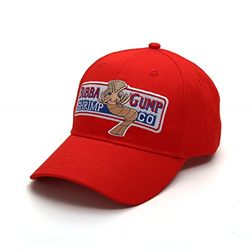 Nofonda Unisex Forrest Gump Cap, Baseballmütze mit Besticktem Bubba Gump Shrimp Co. Logo, Snapback Hut als Cosplay-Kostüm Zubehör oder Geschenk, für Sport oder Freizeit (Rot)