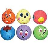 6 quitschende Bälle aus Latex mit Gesichtern, geeignet als Hundespielzeug in Größe eines Tennisballs
