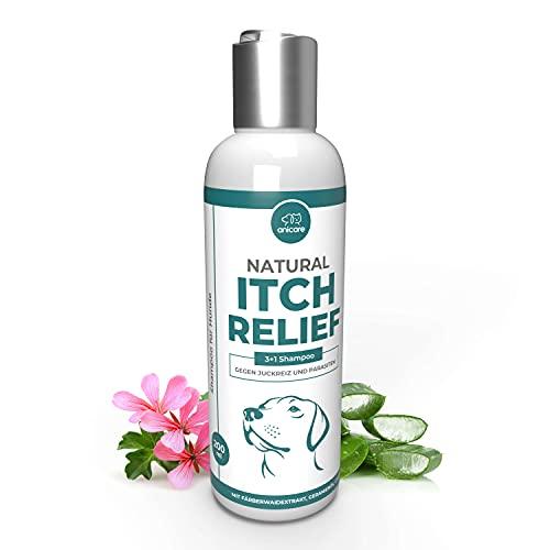 Natural Itch Relief Champú para perros contra el picor y los parásitos - Funciona en todas las razas de perros contra el picor, ácaros, pulgas, garrapatas, infestaciones de hongos - Fórmula eficaz