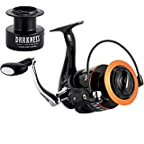 Dr.Fish Saltwater Spinning Reel Graphite Body Spare Spool 9+1 Stainless Steel BB 35lb Max Drag Carbon Fiber Surf Casting Reel Inshore Fishing Ocean Fishing 9000