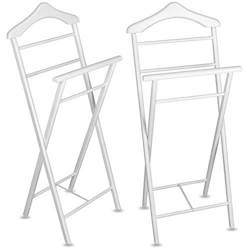 Staboos 2er Set Stummer Diener aus Massiv Holz - klappbarer Herrendiener und Butler - fertig montierter Damendiener Kleiderständer in 3 Farben (Weiß)