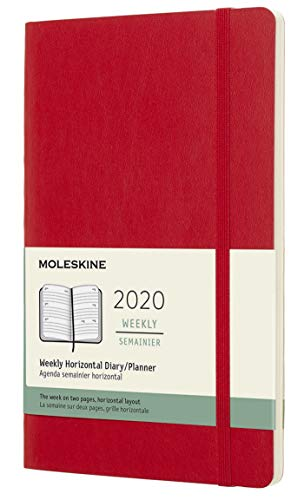 Moleskine Wochenkalender, Taschenkalender, 12 Monate, 2020, Large, A5, Horizontal, Soft Cover, Scharlachrot