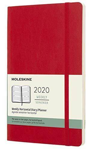 Moleskine 12 Mesi 2020 Agenda Settimanale Orizzontale, Copertina Morbida e Chiusura ad Elastico, Colore Rosso Scarlatto, Dimensione Large 13 x 21 cm, 144 Pagine