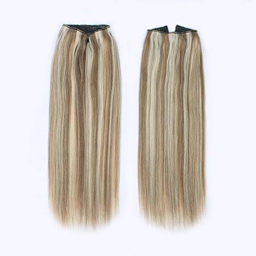 ABH AmazingBeauty Hair Miracle Wire Hair Extensions - Invisible Miracle Wire Remy Human Hair, Ash Brown with Platinum Blonde Highlights P8-60, 20 Inch