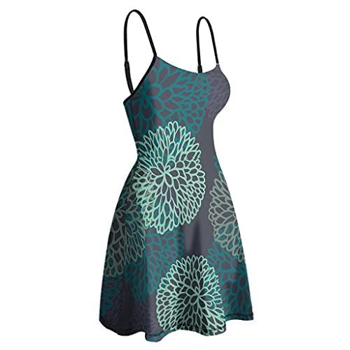Cutenono Vestido de verano para mujer, con tirantes finos, sin mangas, vintage, corto, para el tiempo libre, para la playa blanco XXL
