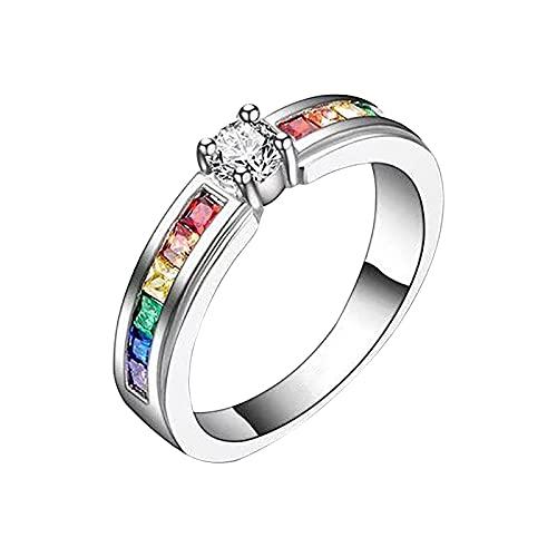 minjiSF Anillo de piedras preciosas multicolor para mujer con temperamento de diamante, único, no se decolora, anillos finos, anillos de compromiso, alianzas, anillos de boda para mujer (plata D, 8)