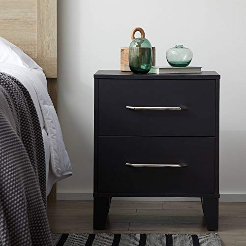 Everlane Home Daley Two Drawer End Table-Modern Design-Easy Assembly Nightstand, Black