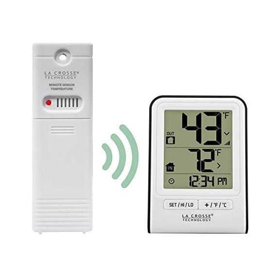 La Crosse Technology 308-1409WT-CBP Wireless Temperature Station, White 3 Monitors indoor & wireless outdoor temperatures (F/C adjustable) Hi/low records of temperature values Indoor Humidity (%RH)