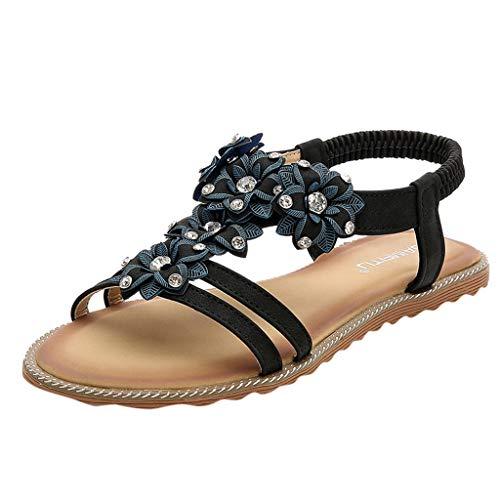 Scarpe Estive Donna,Scarpe Eleganti,Scarpe Sneaker,Scarpe Sportive,YanhooWomens Donna Pesce Bocca Espadrillas Estate Grosso Scarpe Vacanze Sandali Flat (41=Asia 42, Nero)